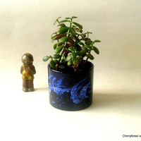 Planter in cobalt by Marei Keramik , medium size tube form  , Mid Century Modern Planter .