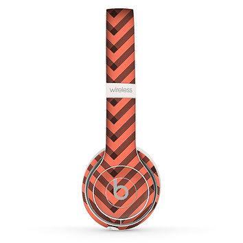 The Coral & Black Sketch Chevron Skin Set for the Beats by Dre Solo 2 Wireless Headphones