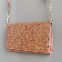 A Laser Cut Crossbody in Blush