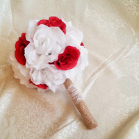 Medium snow white red rustic wedding BOUQUET Burlap Handle, Flower-girl, Bridesmaids, fabric roses vintage wedding brown custom small toss