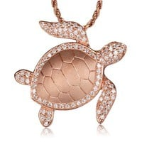 ROSE GOLD ON SOLID 925 STERLING SILVER HAWAIIAN SEA TURTLE HONU SLIDE PENDANT CZ