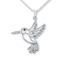 Hummingbird Necklace Diamond Accents Sterling Silver