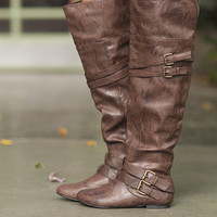 Up to the Knees Riding Boots Brown