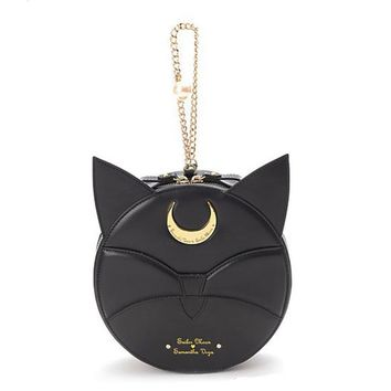 Sailor Moon Samantha Vega Luna Cat Kawaii Circular Handbag