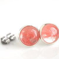 Stud earrings, pink post earrings, cherry quartz studs, gemstone earrings, women's jewelry