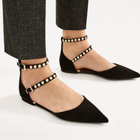 BEADED BLACK D'ORSAY SHOES DETAILS