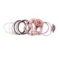 Flower and Faux Pearl Hair Tie Set