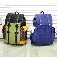 elainse29 LV Backpack Louis Vuitton Contrast Travel bag Green Blue Coffee Monogran Bag