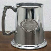 Glass Bottom Refined Pewter Tankard (Engravable)