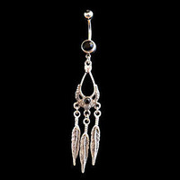 Dream Catcher Belly Ring with Black with Feather Accents 14ga Navel Ring