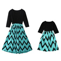 Mommy and Me Matching Chevron Skirt Dresses