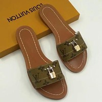 Louis Vuitton LV  Women's lockstitch slippers, flat sole, Leather Sandals
