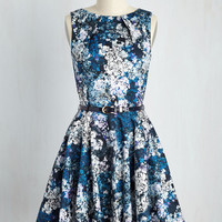 Luck Be a Lady A-Line Dress in Blue Garden | Mod Retro Vintage Dresses | ModCloth.com