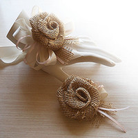 Country Burlap Rose & Pink Satin Wrist Corsage and/or Boutonniere. Made to Order.