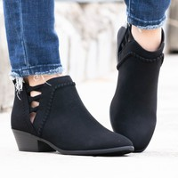 Black Suede Rope Booties