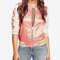 GUESS Vanessa Embroidered Bomber Jacket - Juniors Jackets & Vests - Macy's