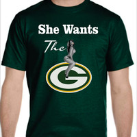 She Wants the D... Packers Logo T-shirt Ladies Men's Green Bay NFL