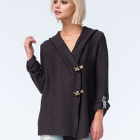 Roxy Rise Up Fleece Hooded Cardigan Charcoal  In Sizes