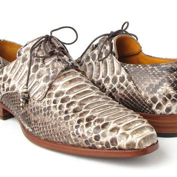 Paul Parkman (FREE Shipping) Men's Natural Genuine Python (snakeskin) Ghillie Lacing Dress Shoes (ID#022SNK)