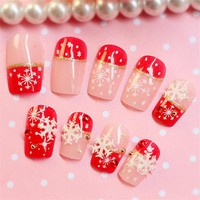 24pcs/set False Nail Art Design Tips Fake Nails Full Wrap Press On Nails Acrylic Materials Fake Nail With Free Adhesive Stilker