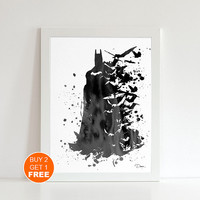 Batman watercolor illustration art print, Gotham City art, dark knight poster, Batman Fan Gift, superhero art, movie poster justice league 2