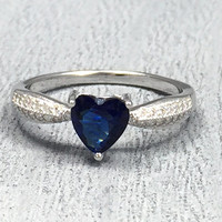 Heart blue sapphire CZ clear CZ 925 sterling silver promise ring size 5 6 7 8 9 10 Women's heart ring, silver blue sapphire CZ ring