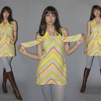 Vintage 60s CHEVRON MINI DRESS / Mod Micro Mini Dress / Crepe Fabric / Oversized Bow / Go Go, Groovy Shift Dress / Xs, Small