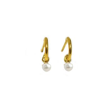 Mini Pearl Drop Half Hoops