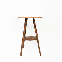 Antique Side Table, Wooden End Table, Vintage Accent Table, Tall Square Wood Table, Antique Oak Table, Two Tier Table