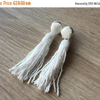 ON SALE Beaded white tassel earrings, opaque white, prom earrings,tassle earrings, statement seed beads earrings, bridesmaid gift for her