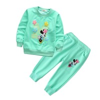 Spring Autumn baby girl clothes Minnie Long Sleeve T-shirt And Pants 2pcs Cotton Suits Children Clothing Sets Toddler Tracksuits
