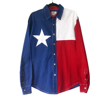 Vintage Texas Flag Button Down Shirt, Country Western Rockabilly Cowboy Red White Blue Long Sleeve Collar Shirt, Retro Lone Star State Top