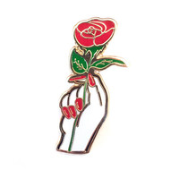 Single Red Rose Lapel Pin