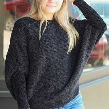 Black Chenille Knit Dolman Sweater