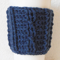 Cotton Cable Stitch Coffee Cozy in Navy Blue, ready to ship.