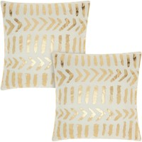 Mina Victory Luminescence Raised Tribal Print Ivory/Gold 18-inch Throw Pillow (Set of 2) by Nourison | Overstock.com Shopping - The Best Deals on Throw Pillows