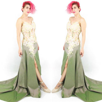 90s Strapless Green Evening Gown Pink and Gold Rhinestones Burlesque Dress Stage Performer Pinup Draped Train Floral Mesh Bustier (S/M)