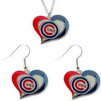 Chicago Cubs Women's Swirl Heart Necklace & Earrings Set