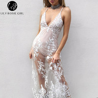 Lily Rosie Girl Women 2017 White Sexy Off Shoulder Empire V-neck Summer Maxi Dress Hollow Out Lace C