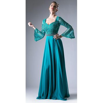 Embroidered Long Formal Dress with Trumpet Long Sleeves Jade