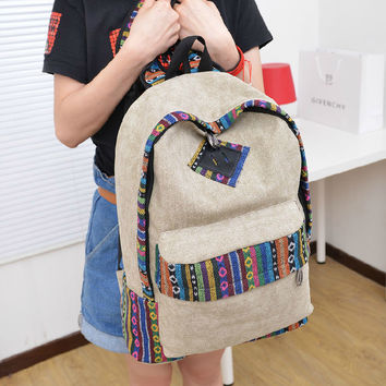 Canvas Backpack School Bag Bohemian Etchnic Printed Casual Daypack Travel