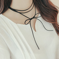 Black leather choker Collar necklace Simple Retro bow tie Rope