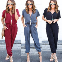V-neck Sexy Cross Strap Pants Women's Fashion One-piece [9618411407]