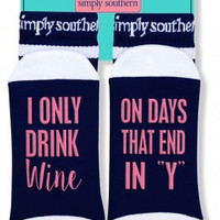 "Simply Southern ""I Only Drink Wine"" Socks - Navy"