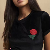 New one rose embroidery short sleeve T-shirt women top blouse Tee