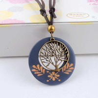 Antique Vintage Long Rope Chain Necklace Wooden Alloy Tree Pendants Neckless Cord Jewelry