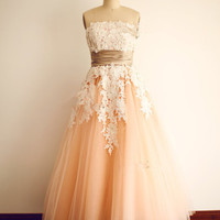 Strapless Lace Open Back Modest Prom Party Dresses ED0967