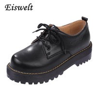 2017 British Style Women Oxfords New Spring Winter Lace-Up Low Heel Round Toe Creepers Casual Ladies Platform Shoes Woman#HDS39
