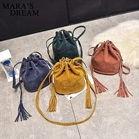 Women Bucket Style Drawstring Crossbody Bag