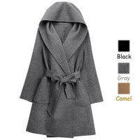 Fashion European Style Women's Warm Solid Color Double-side Hooded Cashmere Outwear Plus Size Woolen Coat - Available 3 Great Colors!